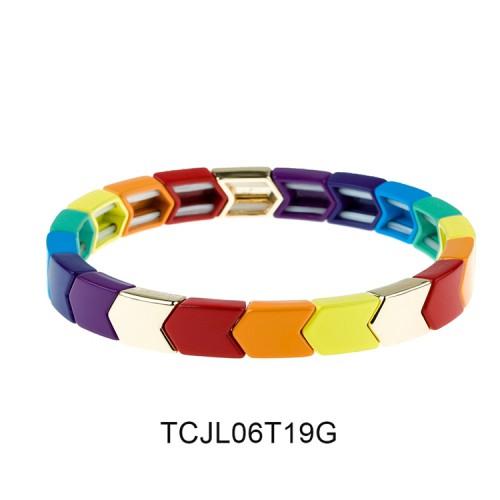Friendship Herringbone Arrow Shape Colorful Alloy Tile Enamel Bracelet Jewelry