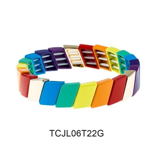Funny Rainbow Colorful Cross-grain Alloy Wholesale Tile Enamel Bracelet Jewelry