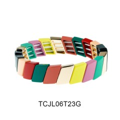 Funny Rainbow Colorful Cross-grain Alloy Wholesale Tile Enamel Bracelet Jewelry
