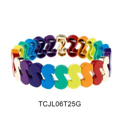 Colorful Rainbow S Shape Alloy Tile Enamel Paddy Bracelet Women Jewelry