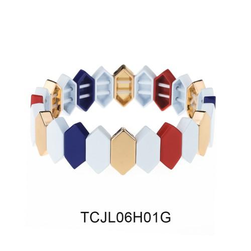 Classic Color Honeycomb Shape Alloy Women Jewelry Tile Enamel Bracelet