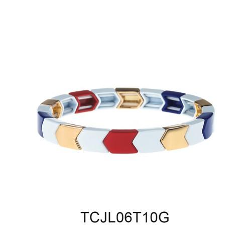 Arrow Material Gold Color Plating Tile Enamel Bracelet Wholesale Women Jewelry