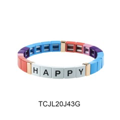 Friendship Square Shape Alphabet Style Alloy Enamel Bracelet Wholesale Jewelry