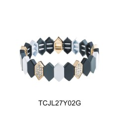 2020 Newest Design Honeycomb Shaped Alloy Enamel Bracelet Czech Crystal Women Jewelry
