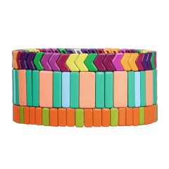 Colourful 3Pcs Tile Enamel Material Wholesale Bracelet Women Jewelry