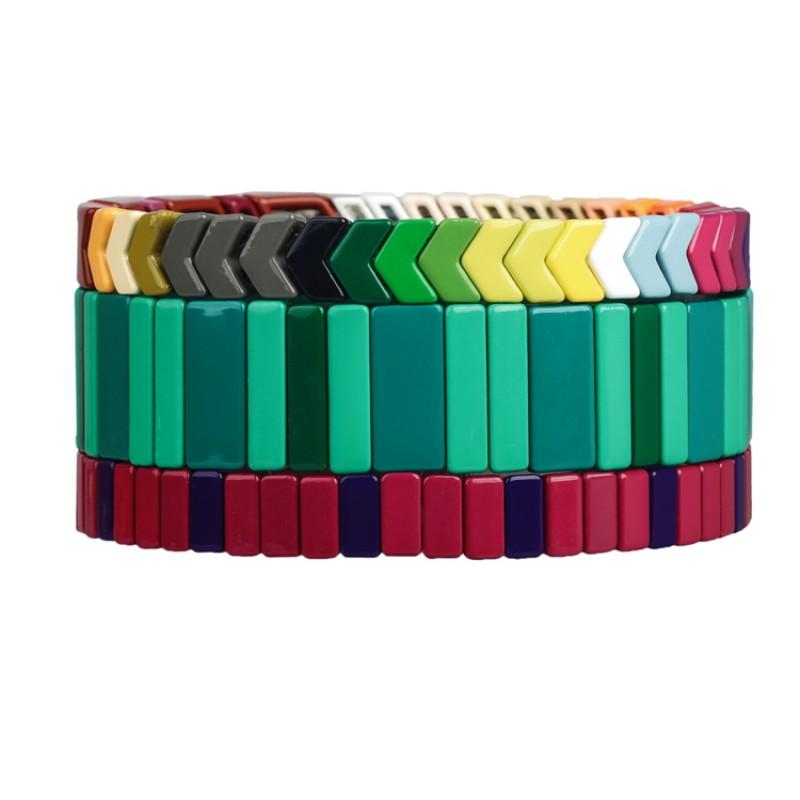 Colourful 3Pcs Tile Enamel Material Wholesale Bracelet Women Jewelry