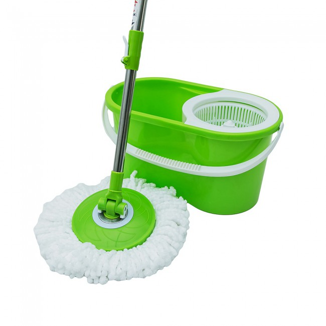 Hand press spin magic mop