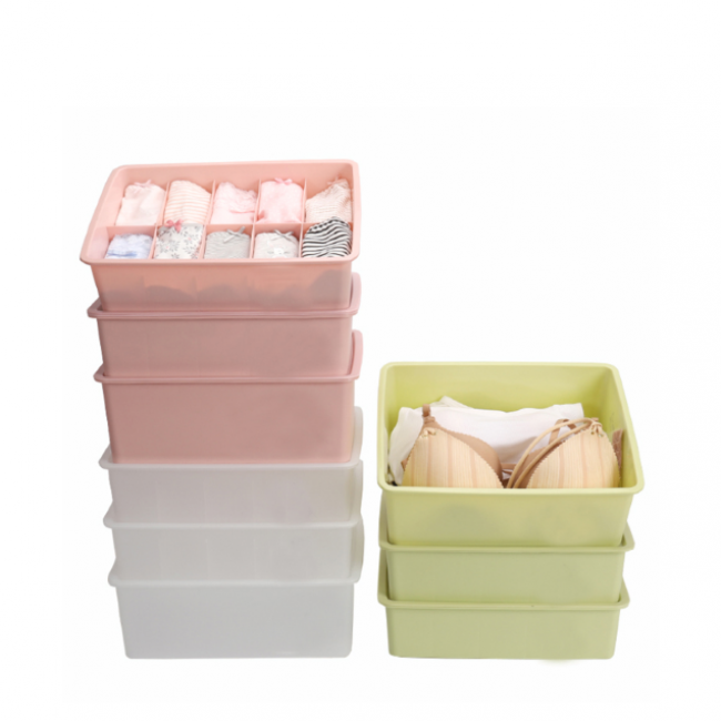 Household plastic storage box- drawer organizer with lid for underwear socks or kids toys storage