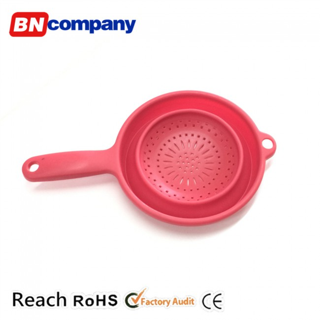 plastic storage basket red folding kitchen basket with handle for fruit